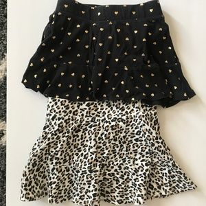 lot 2 girl skirts built in shorts leopard heart